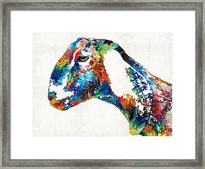 Colorful Goat Art By Sharon Cummings Framed Print