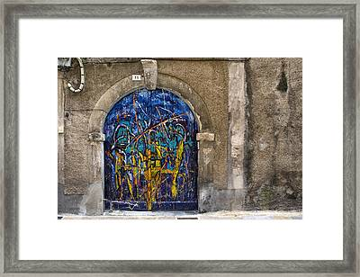 Colorful Graffiti Door Framed Print by Georgia Fowler
