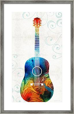 Colorful Guitar Art By Sharon Cummings Framed Print