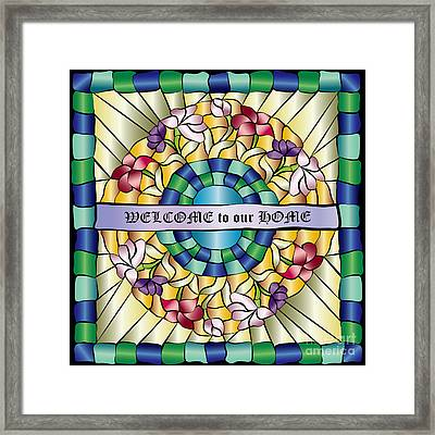 Colorful Hand-drawn Jewel Stained Glass Flowers Framed Print