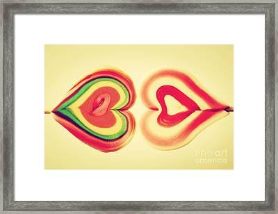 Colorful Heart Shaped Sweet Lollipops Framed Print by Michal Bednarek