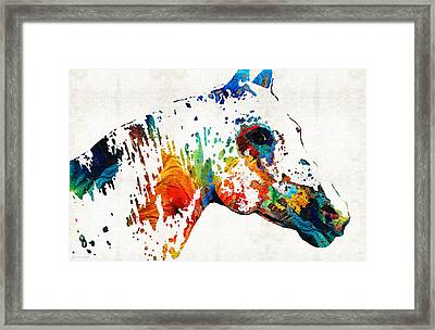 Colorful Horse Art - Wild Paint - By Sharon Cummings Framed Print
