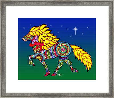 Colorful Horse Tangle Design Framed Print