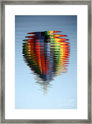 Colorful Hot Air Balloon Ripples Framed Print by Carol Groenen