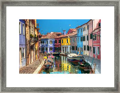 Colorful Houses And Canal On Burano Island Near Venice Italy Framed Print