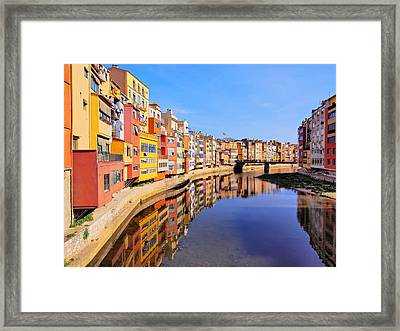 Colorful Houses In Girona Framed Print