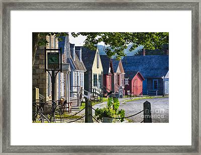 Colorful Houses In Mystic Seafaring Village Framed Print by George Oze