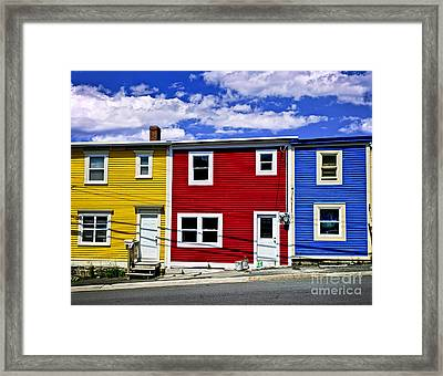 Colorful Houses In St. John's Newfoundland Framed Print