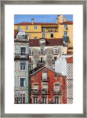 Colorful Houses In The City Of Lisbon Framed Print by Artur Bogacki