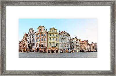 Colorful Houses On Old Town Square Framed Print