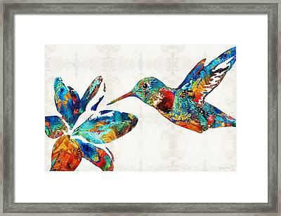 Colorful Hummingbird Art By Sharon Cummings Framed Print by Sharon Cummings