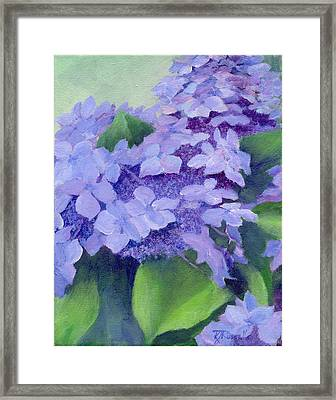 Colorful Hydrangeas Original Purple Floral Art Painting Garden Flower Floral Artist K. Joann Russell Framed Print