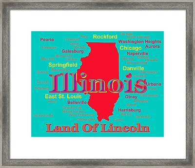 Colorful Illinois State Pride Map Silhouette  Framed Print by Keith Webber Jr