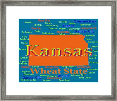 Colorful Kansas State Pride Map Silhouette  Framed Print by Keith Webber Jr