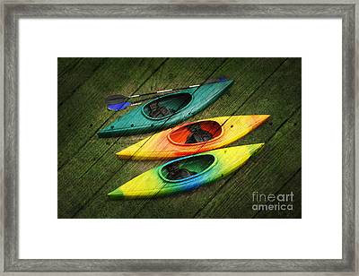 Colorful Kayaks Framed Print by Suzi Nelson