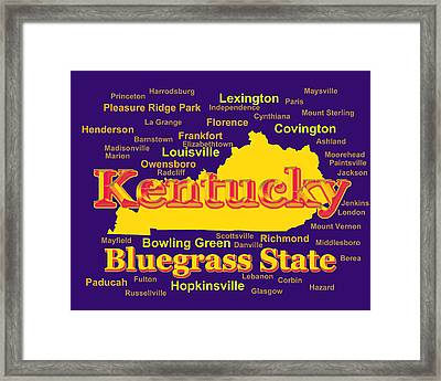 Colorful Kentucky State Pride Map Silhouette  Framed Print by Keith Webber Jr
