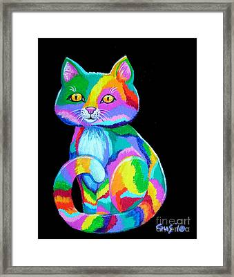 Colorful Kitten Framed Print by Nick Gustafson