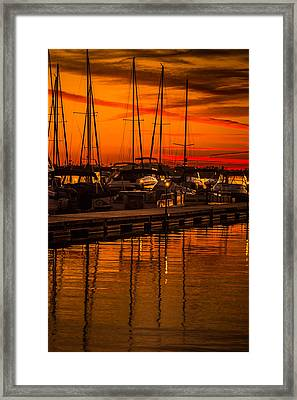 Colorful Lake Norman Sunset Framed Print by Serge Skiba