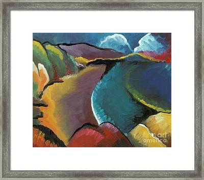 colorful abstract oil painting - Rocky Beach Framed Print