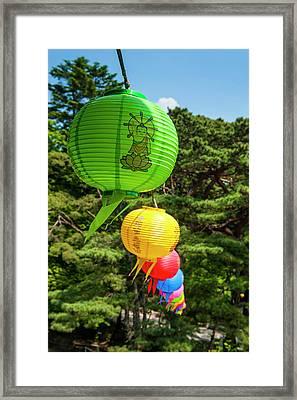 Colorful Lanterns In The Bulguksa Framed Print by Michael Runkel