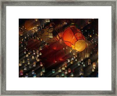 Framed Print featuring the photograph Colorful Lanterns by Zinvolle Art