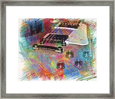 Colorful Les Paul Framed Print by Lisa  Telquist