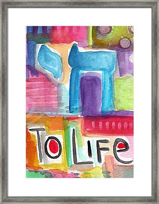 Colorful Life- Abstract Jewish Greeting Card Framed Print by Linda Woods