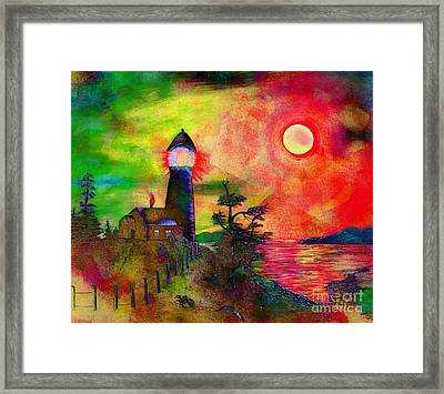 Colorful Lighthouse Scene With Textures Framed Print