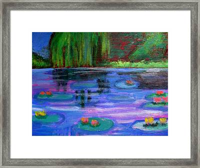 Colorful Lilly  Pad Flowers After Monet Framed Print by Diana Riukas