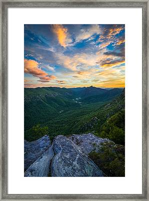 Colorful Linville Sunrise Framed Print by Serge Skiba