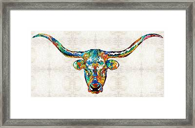 Colorful Longhorn Art By Sharon Cummings Framed Print by Sharon Cummings