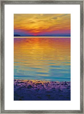 Colorful Lowtide Sunset Framed Print