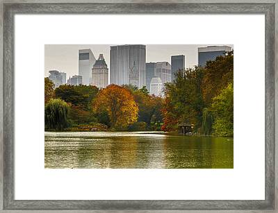 Colorful Magic In Central Park New York City Skyline Framed Print by Silvio Ligutti