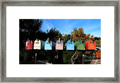 Colorful Mailboxes Framed Print by Nina Prommer