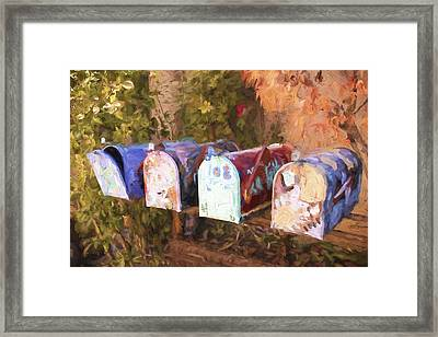 Colorful Mailboxes Santa Fe Painterly Effect Framed Print by Carol Leigh