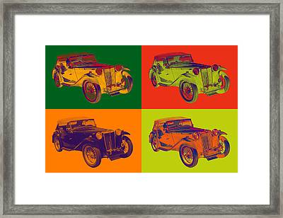 Colorful Mg Tc Antique Car Popart Framed Print by Keith Webber Jr