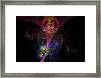 Colorful Modern Fractal Art Image On Black Background Framed Print