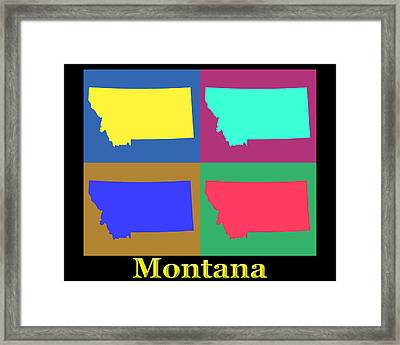 Colorful Montana State Pop Art Map Framed Print