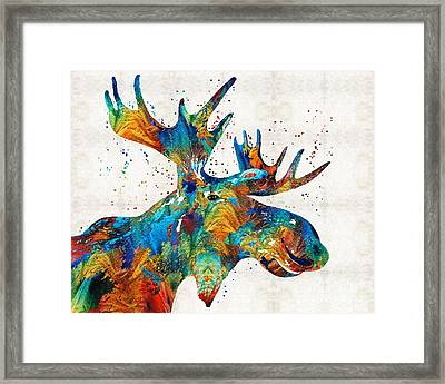 Colorful Moose Art - Confetti - By Sharon Cummings Framed Print by Sharon Cummings