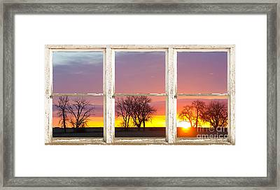 Colorful Morning White Rustic Barn Picture Window Frame View Framed Print by James BO  Insogna