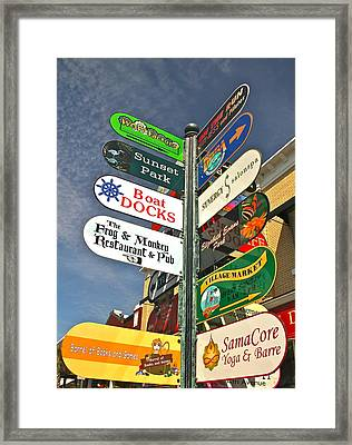 Colorful Mount Dora Signs Framed Print by Denise Mazzocco