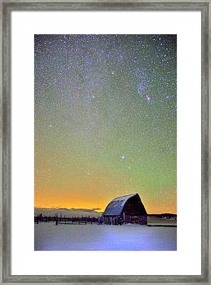 Colorful Night Barn Framed Print