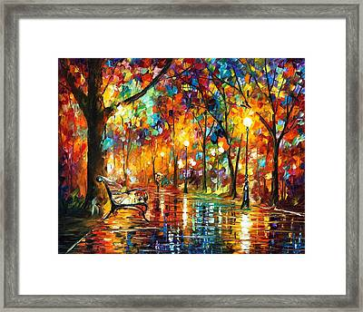 Colorful Night - Palette Knlfe Oil Painting On Canvas By Leonid Afremov Framed Print