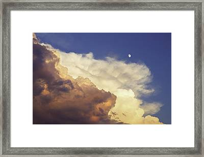 Colorful Orange Magenta Storm Clouds Moon At Sunset Framed Print by Keith Webber Jr