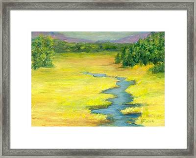 Colorful Original Landscape Painting Mountain Meadow Framed Print