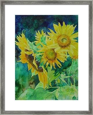 Colorful Original Sunflowers Flower Garden Art Artist K. Joann Russell Framed Print