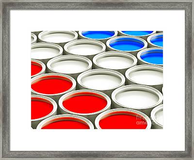 Colorful Paint Cans - Red White And Blue Version Framed Print