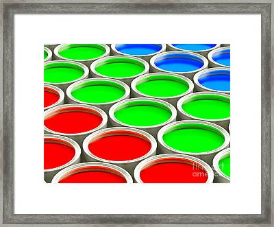 Colorful Paint Cans - Rgb Version Framed Print