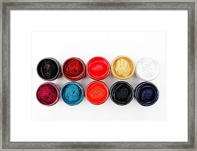 Colorful Paint Pots Framed Print