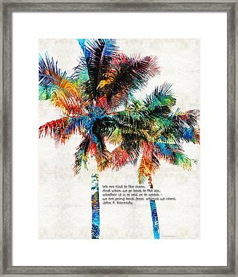 Colorful Palm Trees - Returning Home - By Sharon Cummings Framed Print by Sharon Cummings